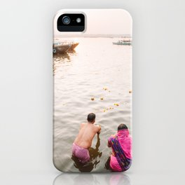 Bathing in the Holy Ganges River in Varanasi, India | Travel Photography | iPhone Case