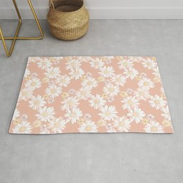 White and Blush Pink Blooming Daisies Rug