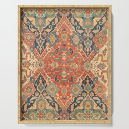 Geometric Leaves VII // 18th Century Distressed Red Blue Green Colorful Ornate Accent Rug Pattern Serving Tray