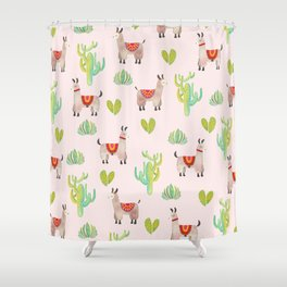 Cute alpacas with pink background Shower Curtain