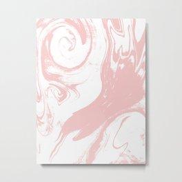 Marble pastel pink 3 Suminagashi watercolor pattern art pisces water wave ocean minimal design Metal Print
