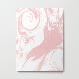 Marble pastel pink 3 Suminagashi watercolor pattern art pisces water wave ocean minimal design Metal Print