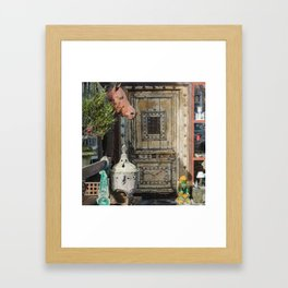 Horse head and antiques Framed Art Print