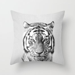 Tiger - Black & White Throw Pillow