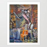 Untitled with Orange Chair Art Print