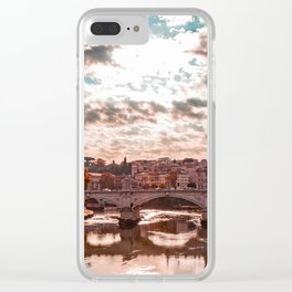 view of the Vittorio Emanuele II Bridge at sunset, with the Tiber, in Rome, Italy Clear iPhone Case