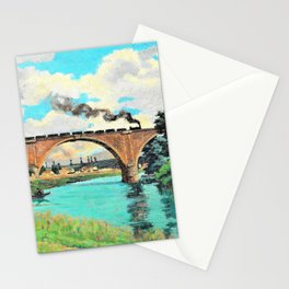 Railroad Bridge over the Marne - Digital Remastered Edition Stationery Cards