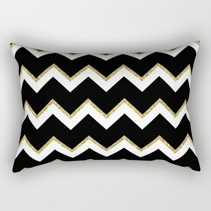 Black Gold White Chevron Pattern Rectangular Pillow