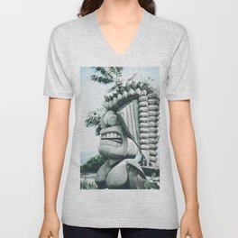 Ku Tiki Retro Powder Blue Kuau Unisex V-Neck