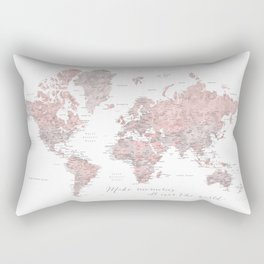 Make memories - Dusty pink and grey watercolor world map, detailed Rectangular Pillow