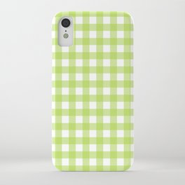 Green gingham pattern iPhone Case