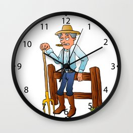 Cartoon Farmer Character with pitchfork Wall Clock