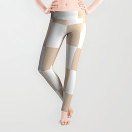 Large Checkered - White and Pastel Brown Leggings