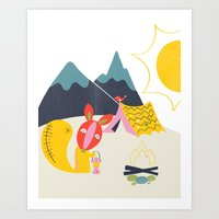 camping Art Prints featuring Camping by Pragya Kothari Inc