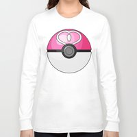 pokeball Long Sleeve T-shirts featuring Love Pokeball by Amandazzling