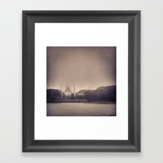 Vintage Navy Pier in Fog Framed Art Print