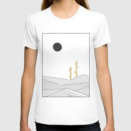 Abstract geometric landscape, desert and cactus T-shirt