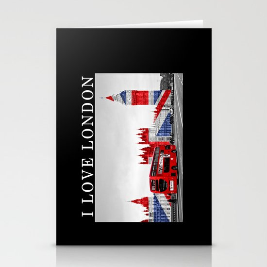 Red London Bus and Big Ben Stationery Cards