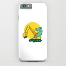 Dinosaur driving an excavator iPhone Case