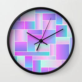 Abstract Holographic Pastel Pattern Wall Clock