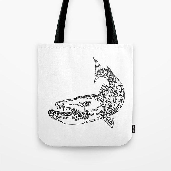 Barracuda Fish Doodle Art Tote Bag