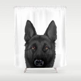 Black German Shepherd, Original painting by miart Shower Curtain