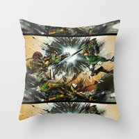 battlefield Throw Pillows featuring The Battlefield by Fresh Doodle - JP Valderrama