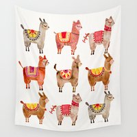 chile Wall Tapestries featuring Alpacas by Cat Coquillette