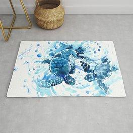 Three Sea Turtles, blue bathroom turtle artwork, Underwater Rug