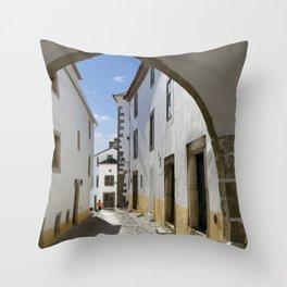 Marvao cobbled street Throw Pillow