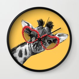 Hipster Giraffe with Glasses Wall Clock