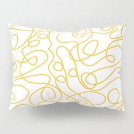 Doodle Line Art | Mustard Yellow Lines on White Pillow Sham