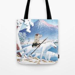 Mononoke and the wolves vintage japanese mashup Tote Bag