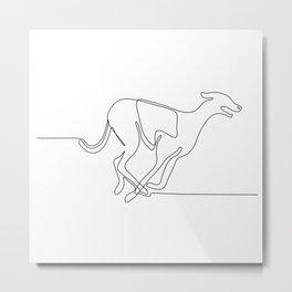 Greyhound Racing Continuous Line Metal Print