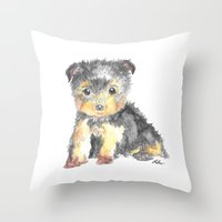 yorkie Throw Pillows featuring Yorkie Pup by The Painted Lace