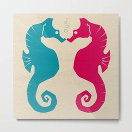 Seahorse Love Metal Print