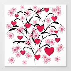 Abstract tree with red hearts and delicate flowers. Canvas Print