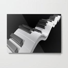 Keyboard of a piano waving on black background - 3D rendering Metal Print