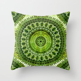 Vintage Lime Mandala Throw Pillow