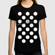 Out on a Limb - Polka Dot Owl Moon Black Womens Fitted Tee X-LARGE