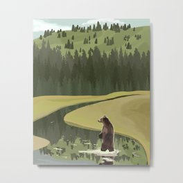 Bear on the Wilderness Metal Print