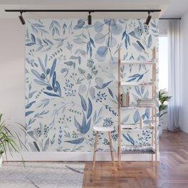 Eucalyptus Pattern - Blue Wall Mural