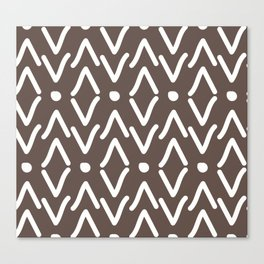 African Tribal Marking Brown Abstract Mud Cloth Canvas Print