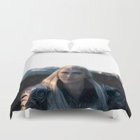 thranduil Duvet Covers featuring Thranduil - Battlefield by LindaMarieAnson
