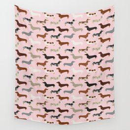 Dachshund doxie pet portrait hot dog weener dog breed funny small dogs puppy gifts for dachshund  Wall Tapestry