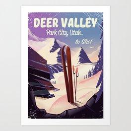Deer Valley, park city, Utah, ski poster print. Art Print