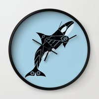 orca Wall Clocks featuring Orca by Hinterlund
