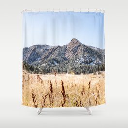 Flatirons Boulder // Colorado Landscape Photograph Yellow Red Field Green Forest Trees Shower Curtain