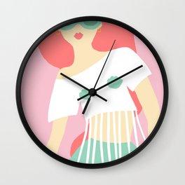 Pink hair Wall Clock