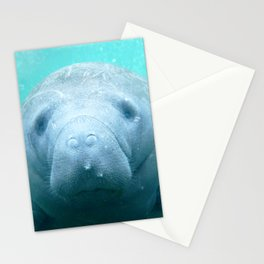 Watercolor Manatee 01, Three Sisters Spring, Crystal River, Florida Stationery Cards